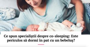 Ce spun specialiștii despre co-sleeping: Este periculos să dormi în pat cu un bebeluș?